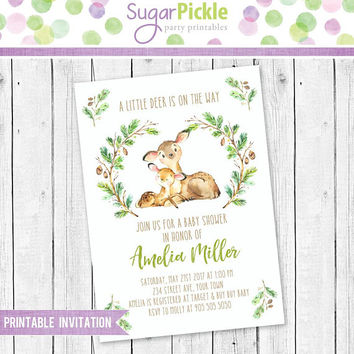 Deer Baby Shower Invitation, Deer Invitation, Baby Shower Party Invite, Baby shower little Deer invitation, Baby Shower party invitation
