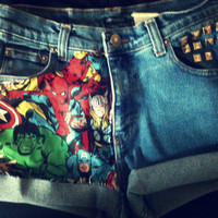 The AVENGERS High Waist Studded Cuffed Jean Shorts