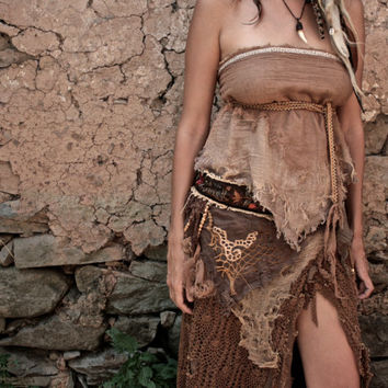 forest fairy Brown Earthy Tribal Light cotton Top -Belt