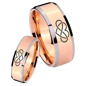 His Hers Rose Gold Beveled Infinity Love 2 Tone Tungsten Wedding Rings Set