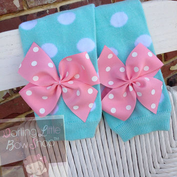Aqua Polka Dot Leg Warmers -- baby girl leg warmers in aqua polka dot with pink bows