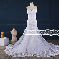 exquisite white mermaid sweetheart wedding dresses gowns,embroidery cathedral train wedding dress,corset back wedding dress bridal gowns