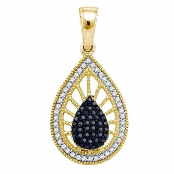 10kt Yellow Gold Women's Round Black Color Enhanced Diamond Milgrain Teardrop Pendant 1-3 Cttw - FREE Shipping (US/CAN)