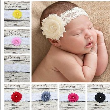 9PCS/lot Baby Headband Bow-knot Soft Head wear Kids Lace Flower Hairband Girl Hair Accessories
