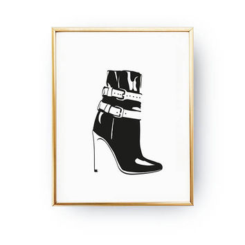 Boot Illustration Print, Illustration Print, Fashionable Poster, Fashion Accessories, Glam Room Decor, Wardrobe Art, Shopping Poster, Beauty