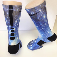 Custom Blue Galaxy nike elite crew socks