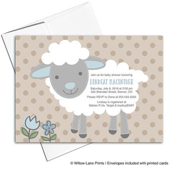 DIY baby shower invites printable | sheep baby shower invitations boy | blue gray beige | also available printed - WLP00714
