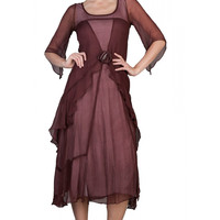 Nataya 10709 Women's 1920's Vintage Style Great Gatsby Dress in Garnet