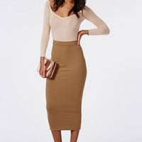 Missguided - Longline Jersey Midi Skirt Camel