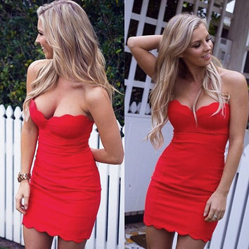 Red Cutout Mesh Zip-Back Bodycon Dress
