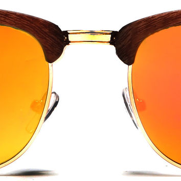 New York Classic Clubmaster Vintage Sunglasses Bamboo Brown