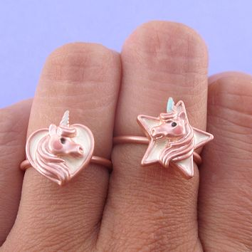 Cute Unicorn Themed Heart and Star Shaped Adjustable Rings