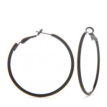 Kim Rogers® Jet Black Hoop Earrings