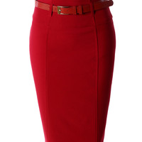 LE3NO Womens Plus Size High Waisted Midi Skirt with Belt (CLEARANCE)