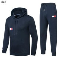 Tommy Hilfiger 2018 autumn and winter new casual men's sports running suit two-piece Black