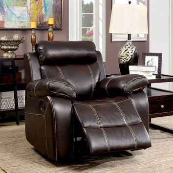 Nona Transitional Breathable Leather Recliner Chair, Brown