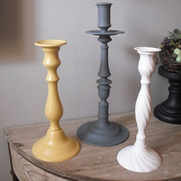 large upcycled modern grouping candlesticks  Grey Gray Yellow white ... tall holders tapers