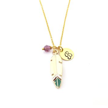 Gold Feather Enamel Charm Necklace - Feather Necklace - Wild and Free - Swarovski Birthstone / Initial - Personalized Gold Necklace