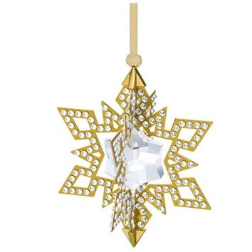 Swarovski Crystal CHRISTMAS ORNAMENT STAR Gold Tone #5135809
