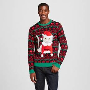 Men's Ugly Christmas Grumpy Cat Sweater - 33 Degrees
