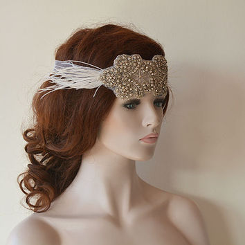 Rhinestone Headband, wedding Headband, Rhinestone  Fascinator With Feather, Wedding Hair Accessory, Bridal Hair Accessories