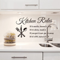 DIY Removable Art Vinyl Quote Wall Sticker Decal Home Mural Decor Kitchen Rules