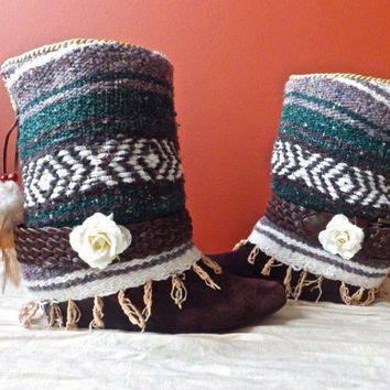 Southern, Aztec, Mexican, Boho, Gypsy, Canyon Boots Size 7.5