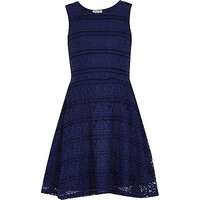 River Island Girls navy lace skater dress