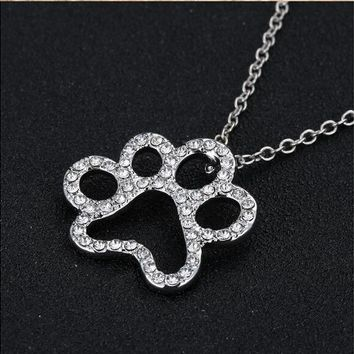 Dog Paw Rhinestone Pendant Necklace