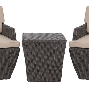 Bel Cubo Square Wicker 3pc. Bistro Set