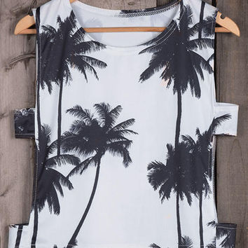 Coconut Palm Tree Print Tank Top