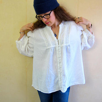 White Linen Blouse Oversized Boxy Shirt Minimal Top Quarter Sleeve Billowy Shirt 90s Modern Button Up White Top Womens 3XL XXXL