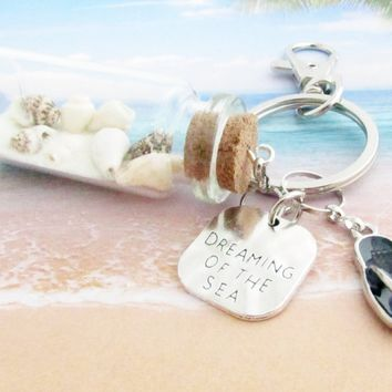 Beach Bottle Keychain with Quote