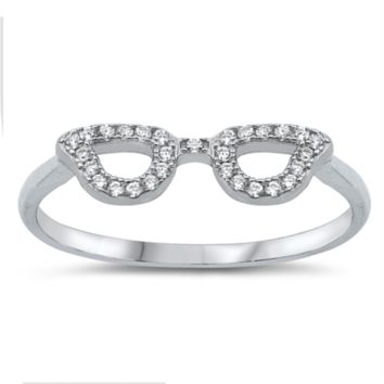 Eye Glasses Ring with CZ Ladies Size 5-10 in .925 Sterling Silver