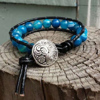Boho Blue Striped Agate Beaded Leather Wrap Bracelet Jewelry Handmade Mother's Day Gifts For Her