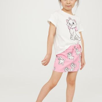 T-shirt and twill skirt - White/Aristocats - Kids | H&M GB