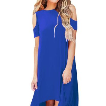Royal Blue Cold Shoulder Short Sleeve High Low Dress