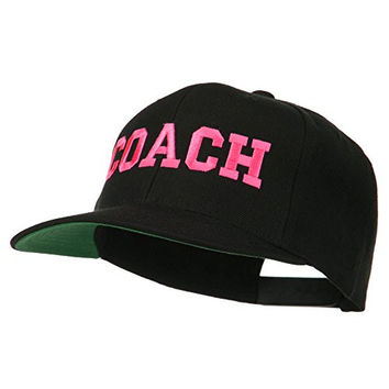 Women's Coach Embroidered Flat Bill Cap - Black OSFM
