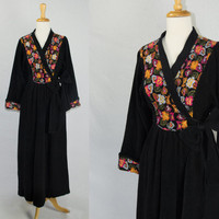 Vintage Bombshell Embroidered Dressing Gown Robe Vanity Fair