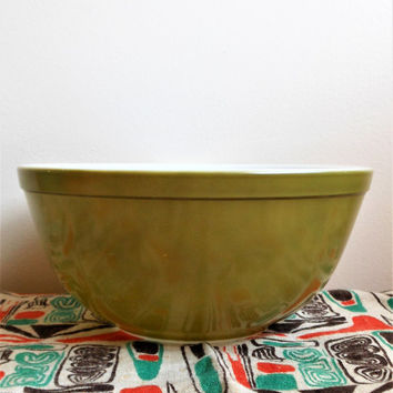 Pyrex 403 Verde Mixing Bowl , Pyrex Square Flowers 403,  Green Nesting Bowl, Spring Blossom, Crazy Daisy, Avocado Green