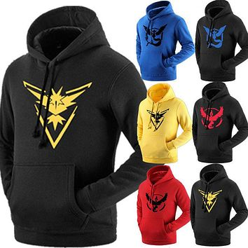 Pokemon Go Team Valor Team Mystic Team Instinct Pokeball Men's Hoodies Autumn Warm Clothes tracksuit outwear