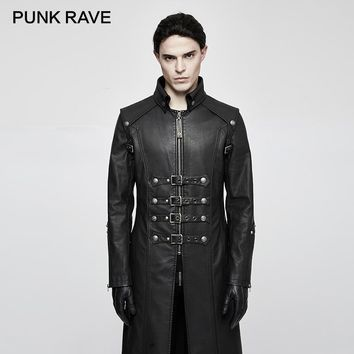 PUNK RAVE Punk Rock Unique Fashionable Heavy PU Leather Parka Trench with Skull Decoration Winter Gothic Cross Coats Jackets