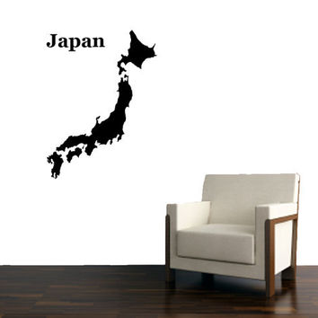 Japan World Map Vinyl Design, Asian Art -Vinyl Decal - Wall Art