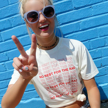 No Rest For The Rad Cream Grocery Bag Tee