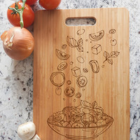 ikb466 Personalized Cutting Board Wood plate food meal restaurant kitchen