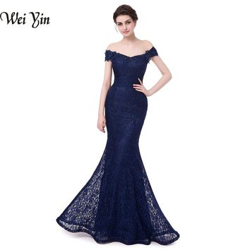 WeiYin Vestido De Noiva Elegant Beads Lace Mermaid Long Evening Dress Cheap Red Prom Dress Robe De Soiree Cap Sleeve Party Dress
