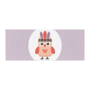 "Daisy Beatrice ""Hipster Owlet"" Purple Bed Runner"