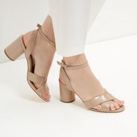 Nude Patent Cross Strap Heeled Sandals