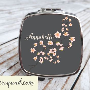 Cherry Blossom - Compact Mirror - Personalized, Bridesmaid gifts , Bride Tribe , Mrs.