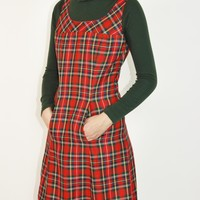 Plaid Pinafore Dress / S M